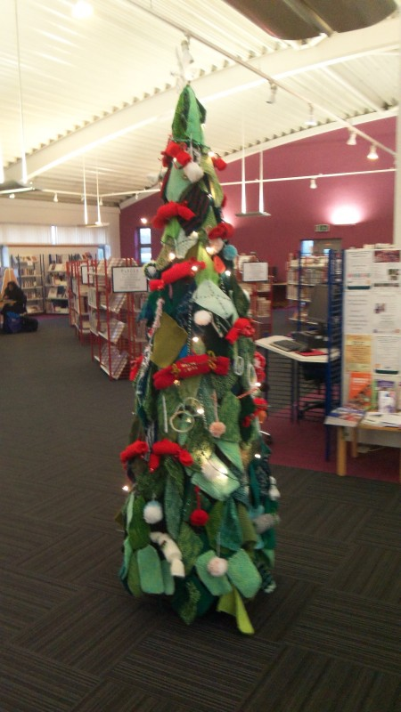 knitted tree library christmas knit and natter