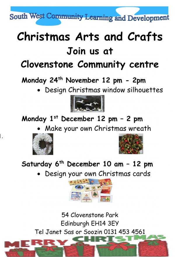 Family Christmas Crafts at Clovenstone Community Centre Nov & Dec 2014-1