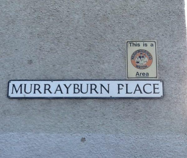 Murrayburn Place Sign Neighbourhood Watch Area