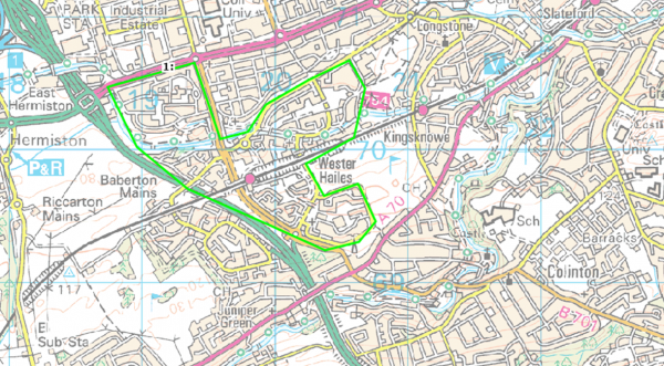 Map of Wester Hailes highlighted (in Green) Map taken from www.consultation.lgbc-scotland.gov.uk