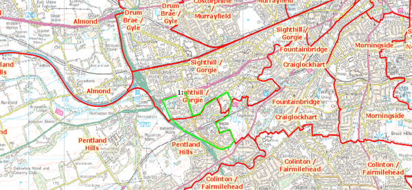 Map of proposed Council Wards (in red) with Wester Hailes (highlighted Green) Map taken from www.consultation.lgbc-scotland.gov.uk