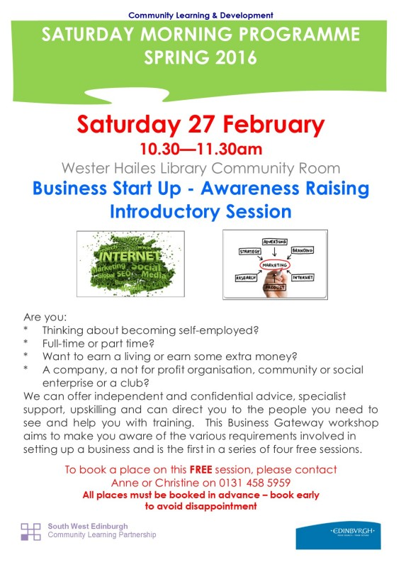 Business Start Up - Awareness Raising Introductory Session 27.2.16