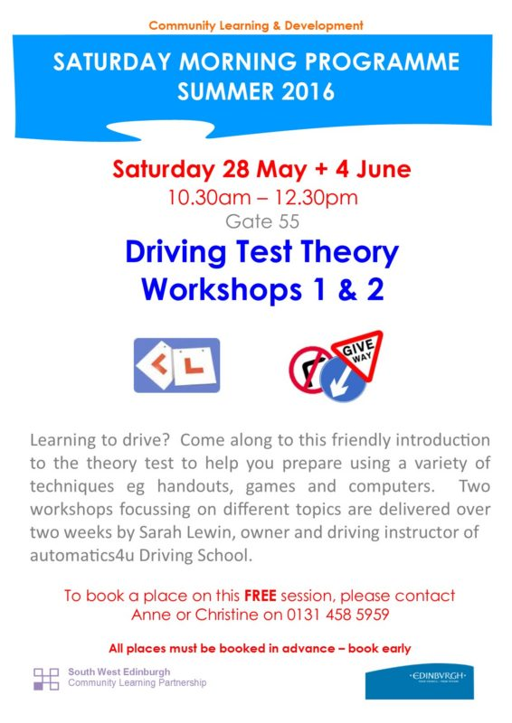 Driving Test Theory 28 May + 4 June 16