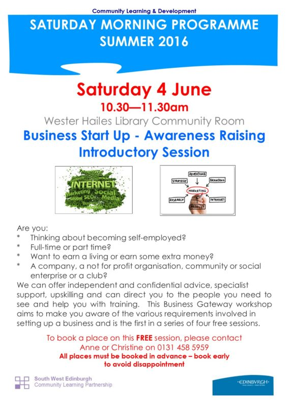 Business Start Up - Awareness Raising Introductory Session 4.6.16