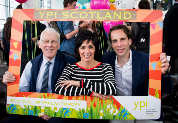 The recent YPI Festival of Philanthropy, left to right: Sir Ian Wood (Chairman of The Wood Foundation), Andrea Brymer (STV), Mark Beaumont (YPI Philanthropy Ambassador)