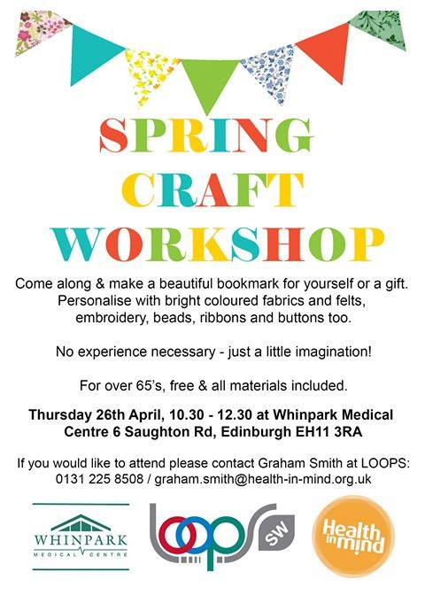 Digital sentinel spring craft workshop at whinpark medical centre spaces are limited if you would like to join in call graham smith on 0131 225 8508 or grahamithhealth in mind to book your place solutioingenieria Image collections